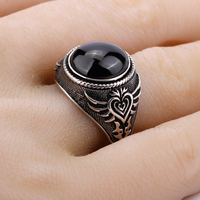 925 Sterling Silver Men Ring Featured Black Big Natural Stone Silver Ring with Poker Vintage Skeleton Design for Man