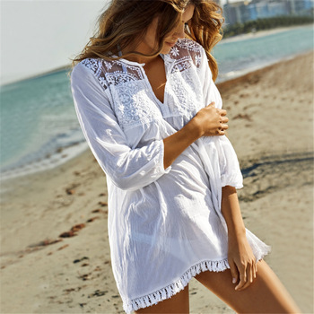 Lace embroidered fringed cotton V-neck circle lace beach skirt bikini blouse holiday dress seaside sunscreen cover up