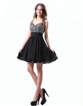 c64323702 Personalizado hecho bling cuentas lentejuelas negro corto chiffon vestido  de fiesta