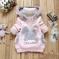 2015 Retail Children Clothing Cartoon Rabbit Fleece Outerwear girl fashion sweatshirt hooded jacket Winter Coat roupa