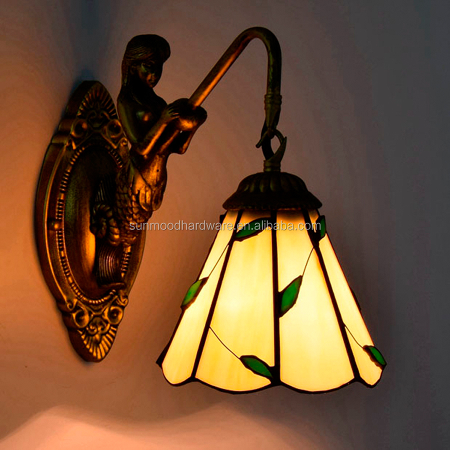 Wholesale Simple Mediterranean Wall Lamp Pastoral Leaf Retro Tiffany 6 inch wall lamp bar restaurant wall lamp