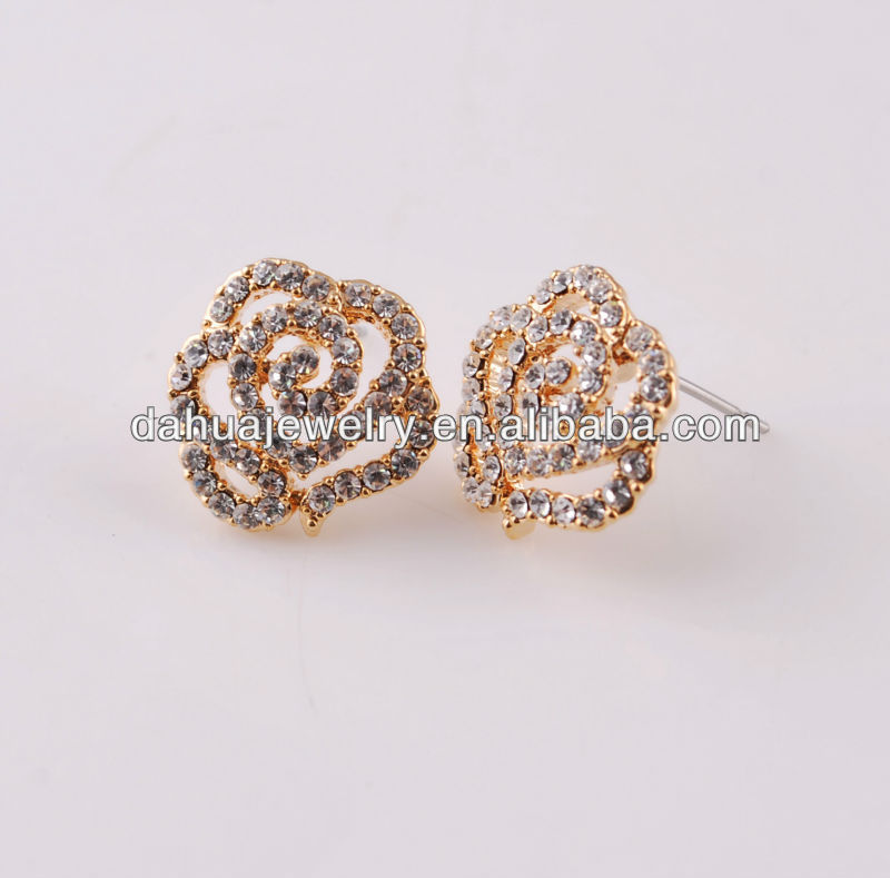 alloy rose flower earrings with diamond for kid with lead&nickel free