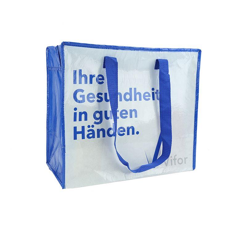 Haut de gamme différents modèles shopping promotionnel coloré rpet sac fourre-tout non tissé avec bleu long manche
