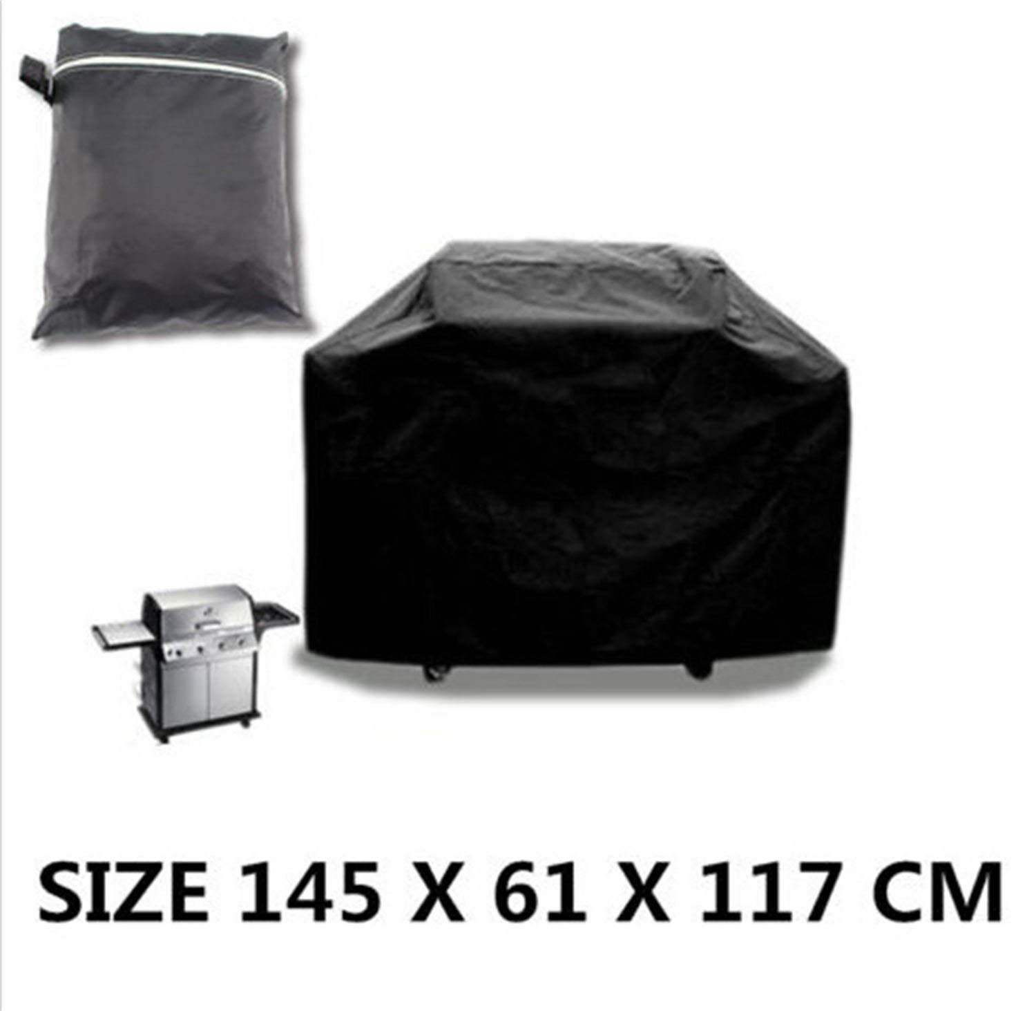 """Skyee BBQ Grill Cover Up to 57"""" Wide, Water Resistant, Air Vents, Padded Handles, Elastic Hem Cord-Outdoor Gas Grill Cover Barbecue Grill Covers with UV Protection Grill Cover, Black"""