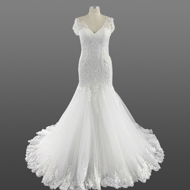 f1adacbadc8 Ladies Wedding Dress Bridal Gown 2018 Vintage V Neck Appliques Lace Mermaid  Alibaba Wedding Dresses with