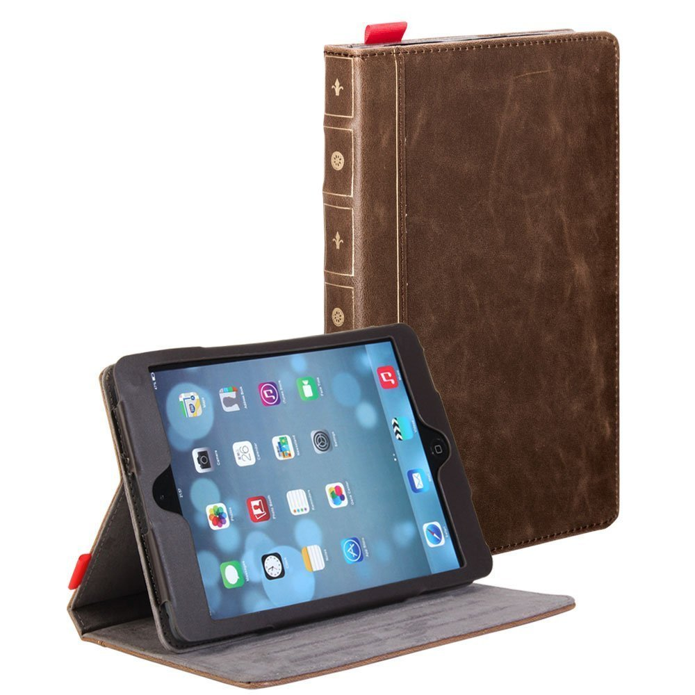 iPad Mini Case, iPad Mini 4 Case, GMYLE Tablet [Book Case] for iPad mini Retina / iPad mini / iPad mini 3- Vintage Brown [Crazy Horse Pattern] [PU Leather] Book Wallet Flip Folio Stand Case Cover