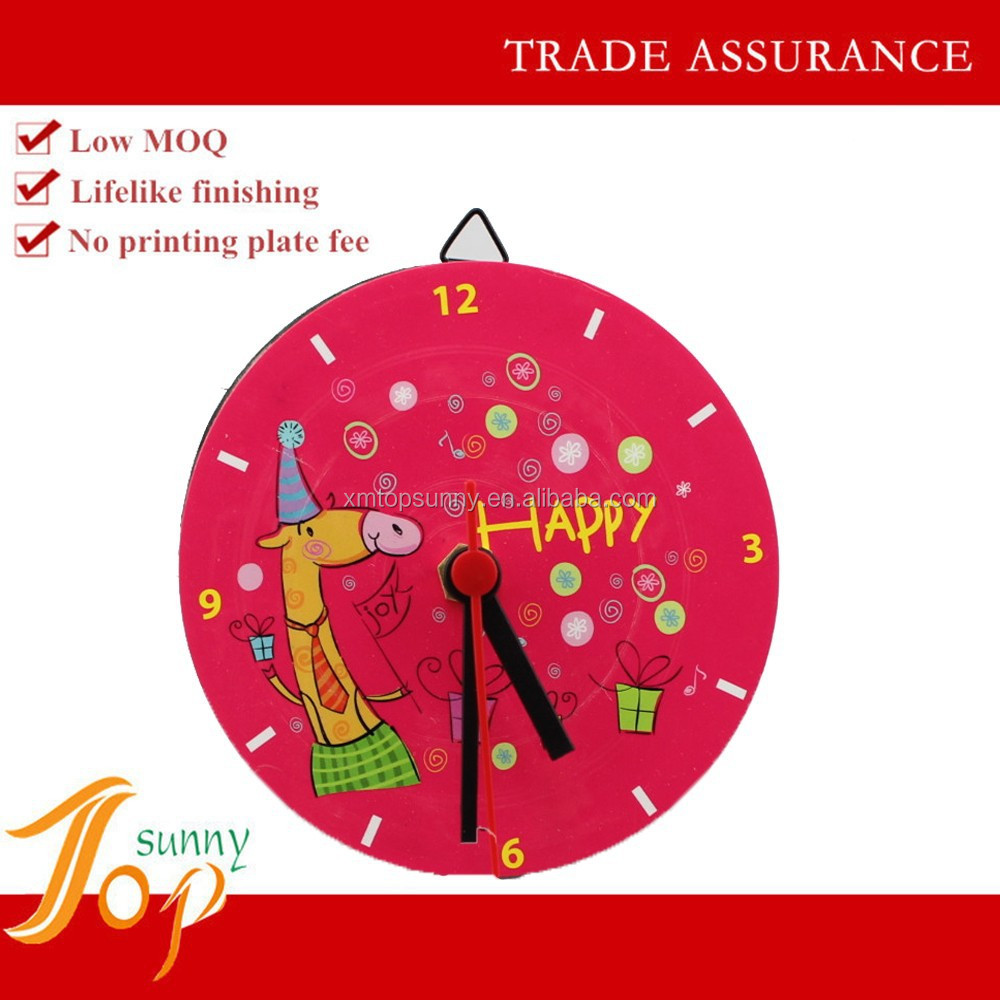 Red Plastic Round Wall Clock Children