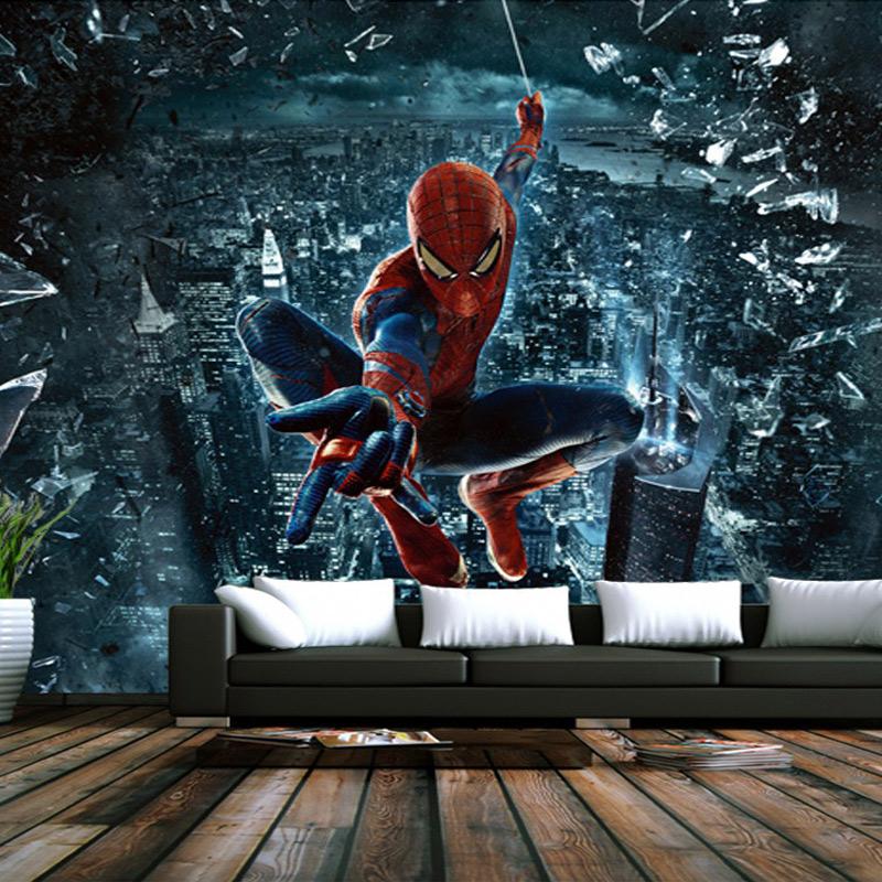 spiderman papier peint murale promotion achetez des. Black Bedroom Furniture Sets. Home Design Ideas