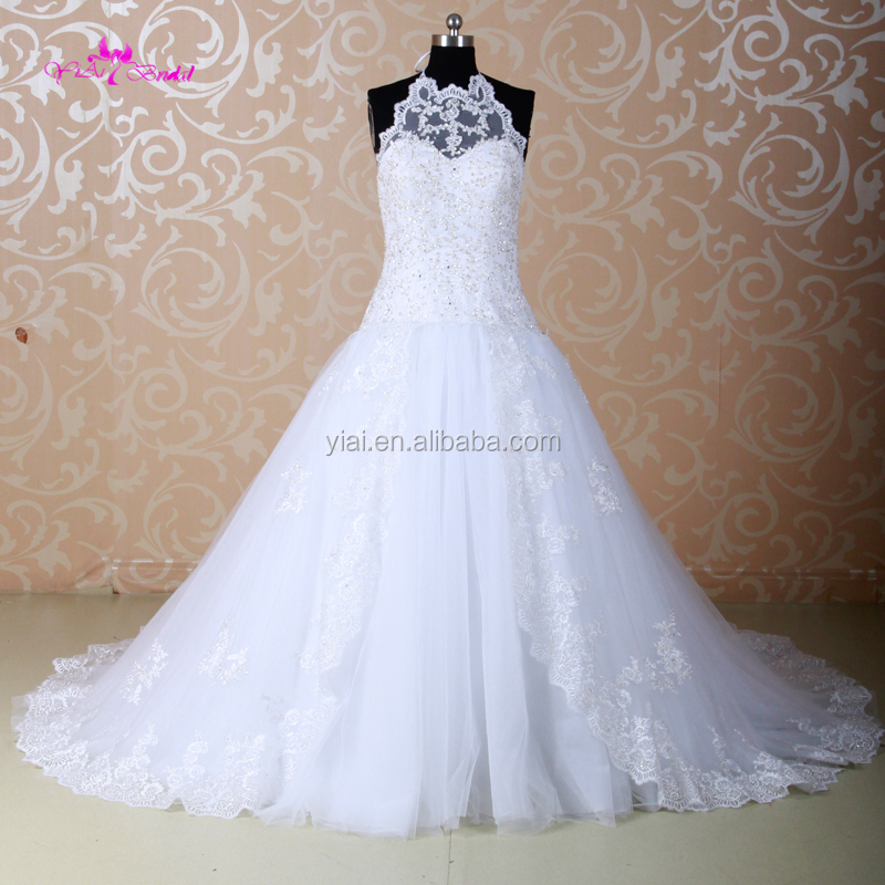 J--0046 Fashion lace Tulle Strapless Ball Gown Wedding Dress with Ribbon Belt Sleeveless halter strap Bridal Gown