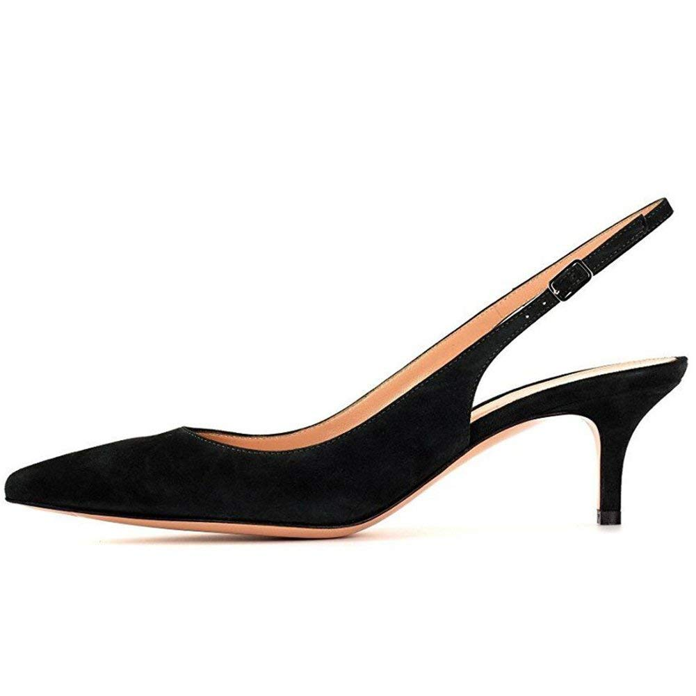 8a5282ea10e8f Get Quotations · Kmeioo Kitten Heels Pumps, Pointed Toe Slingback Sandals  Ankle Strap Low Heel Pumps Evening Party