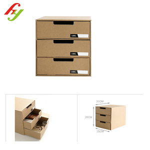 Customized design printed kraft a4 paper storage box with drawer