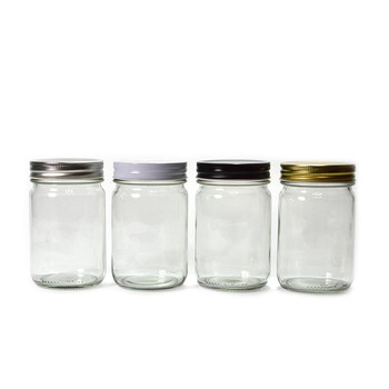 Ronde Glazen Pot.360ml Super Helder Ronde Glazen Pot Met Metalen Deksel Zwart Buy Ronde Glazen Pot Met Zwarte Deksel Metalen Glazen Potten En Deksels Honing Potten