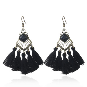 Vintage Ethnic Hollow Rhombus Pendant Earrings Black Tassels Long Drop Dangle Jewelry for Women