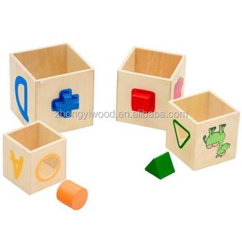 Wooden Shape Sorter Stacking Blocks Educational Wood Baby Toys