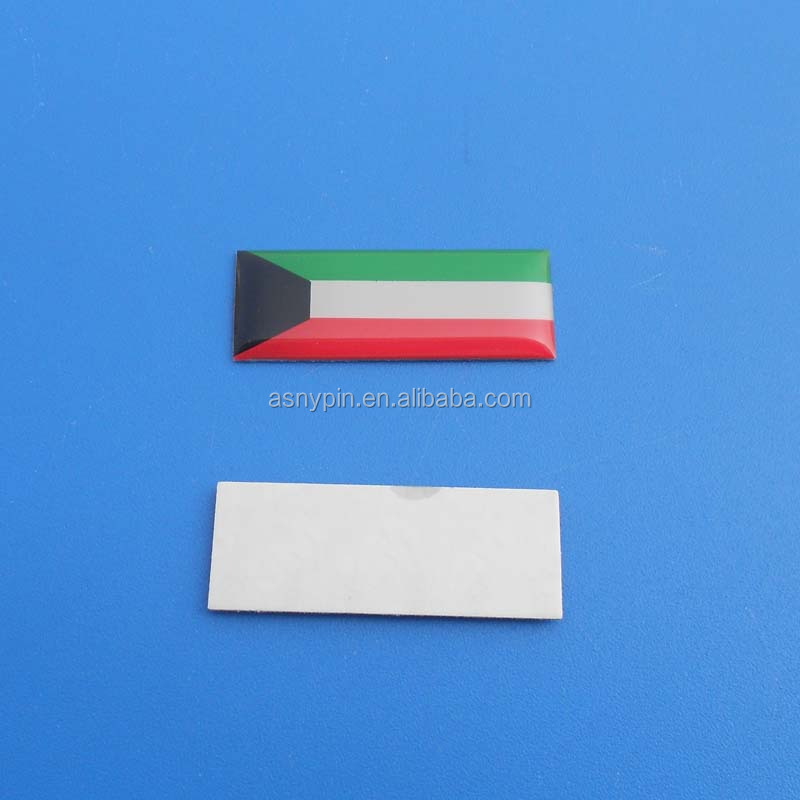 I LOVE KUWAIT national day rectangle printing flag logo metal sticker badge for national day