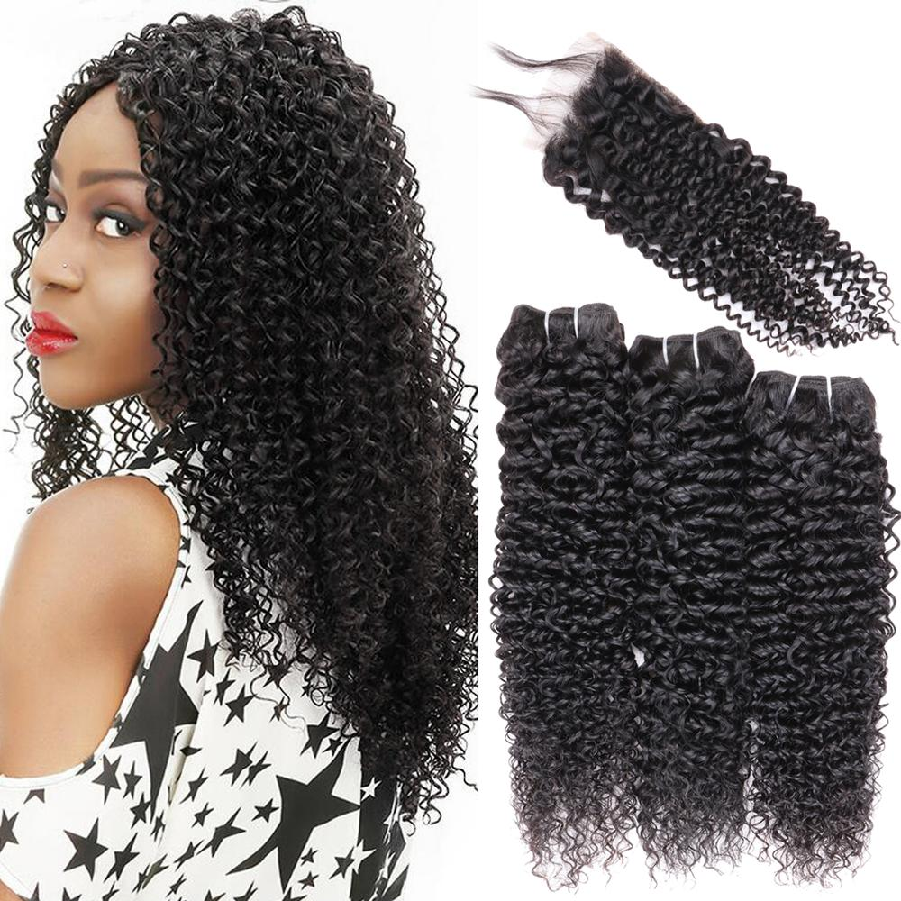 Kinky Curly Human Hair Bundles With 4x4 Closure Natural Black Unprocessed Human Remy Hair 9A Curly Weave Brazilian Virgin Hair