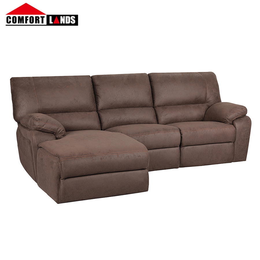 - Comfortlands Living Brown Embossing Fabric Leather Sofa Modern 3
