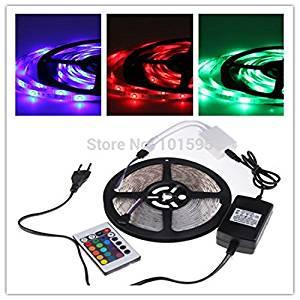Ascentan(TM) 5M RGB LED Strip 300Led 3528 SMD strip+ 24Key IR Remote Controller Flexible Light +2A power supply