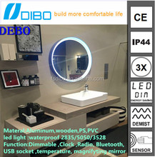 Round mirror with led light vanity makeup mirror aluminum frame