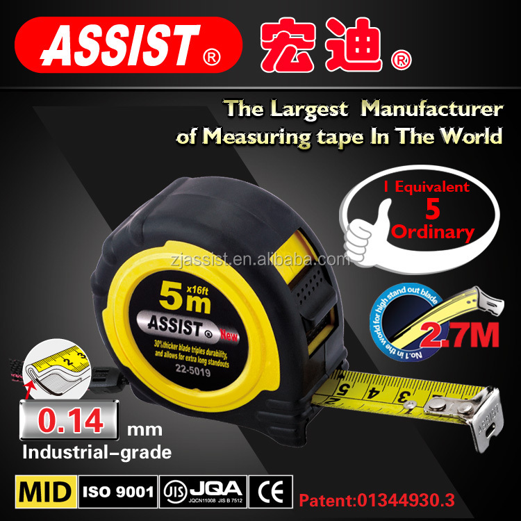 5m retractable ABS+TPR steel tape measure heavy duty measuring tape
