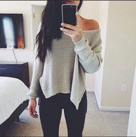 China Suppier Asymmetry Vintage Style Knitted Long Sleeve T Shirt
