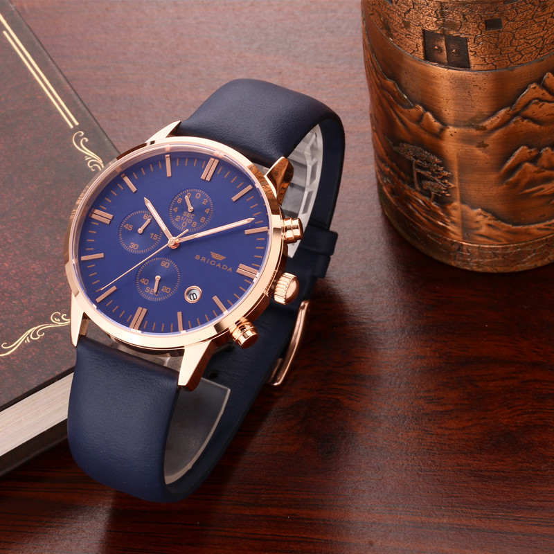 stainless steel back water resistant three Eyes Clock Fashion Men Quartz Watches