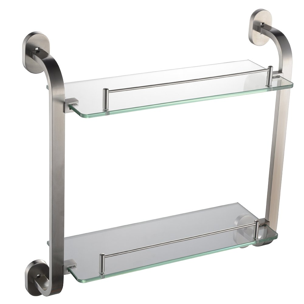 Alise Bathroom Glass Shelves Shower Caddy Double-Layer Shower Glass Shelf Towel Rack Wall Mount,SUS304 Stainless Steel Brushed Finish