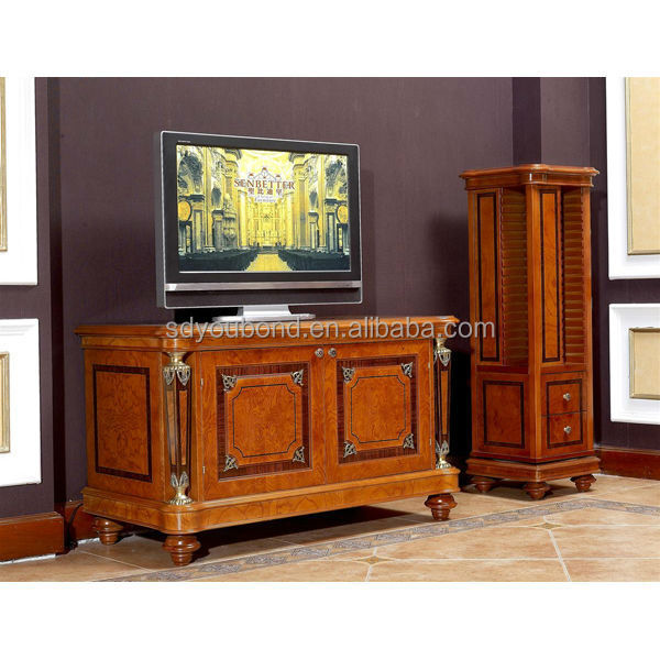 0029 ltaly classic wooden tv cabinet with showcase