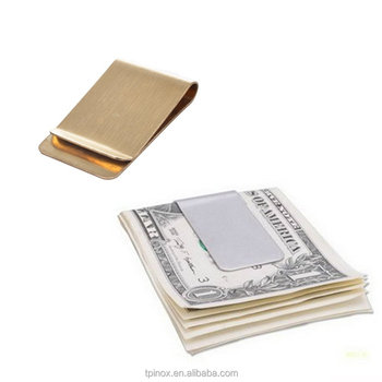 Pack of 2 Stainless Steel Slim Money Clip (Silver & Gold)
