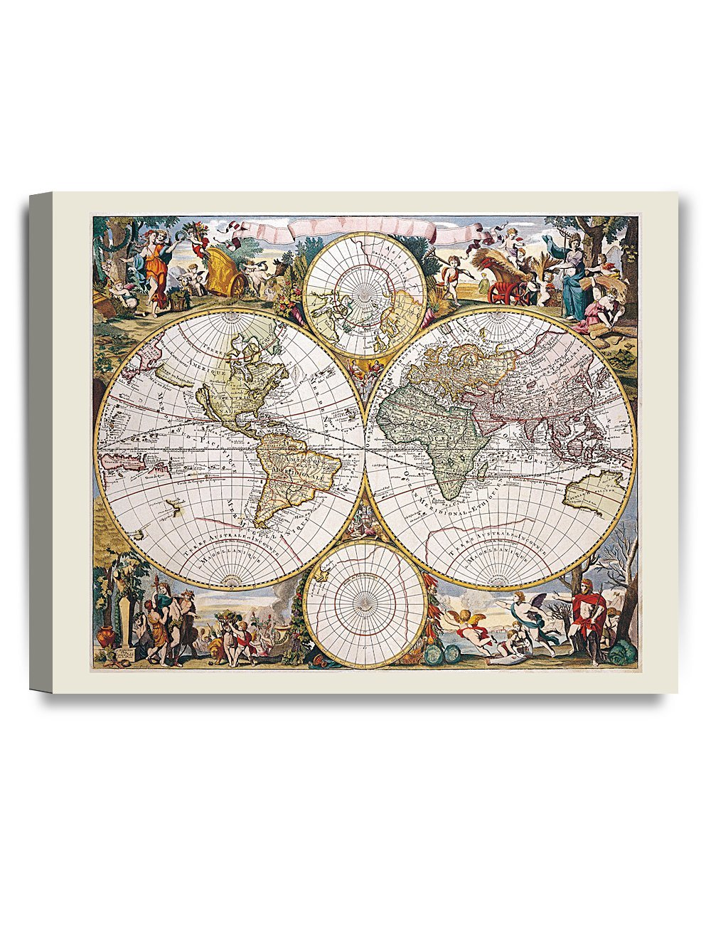 DecorArts - Antique World Travel Map. Vintage World Map High Resolution . Word map canvas. canvas art print. Giclee Print. Stretched canvas Museum Wrapped. 20x16""