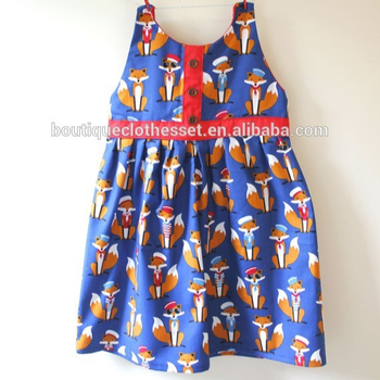 2067ba54bea4 Yiwu boutique clothing fox sleeveless summer clothes lovely animal pattern  printed frocks for girl baby cotton