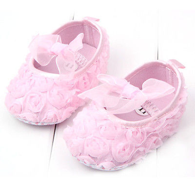 Infant Baby Girl Shoes Rose Flower Crib Shoes Princess Toddler Shoes Walking Shoes