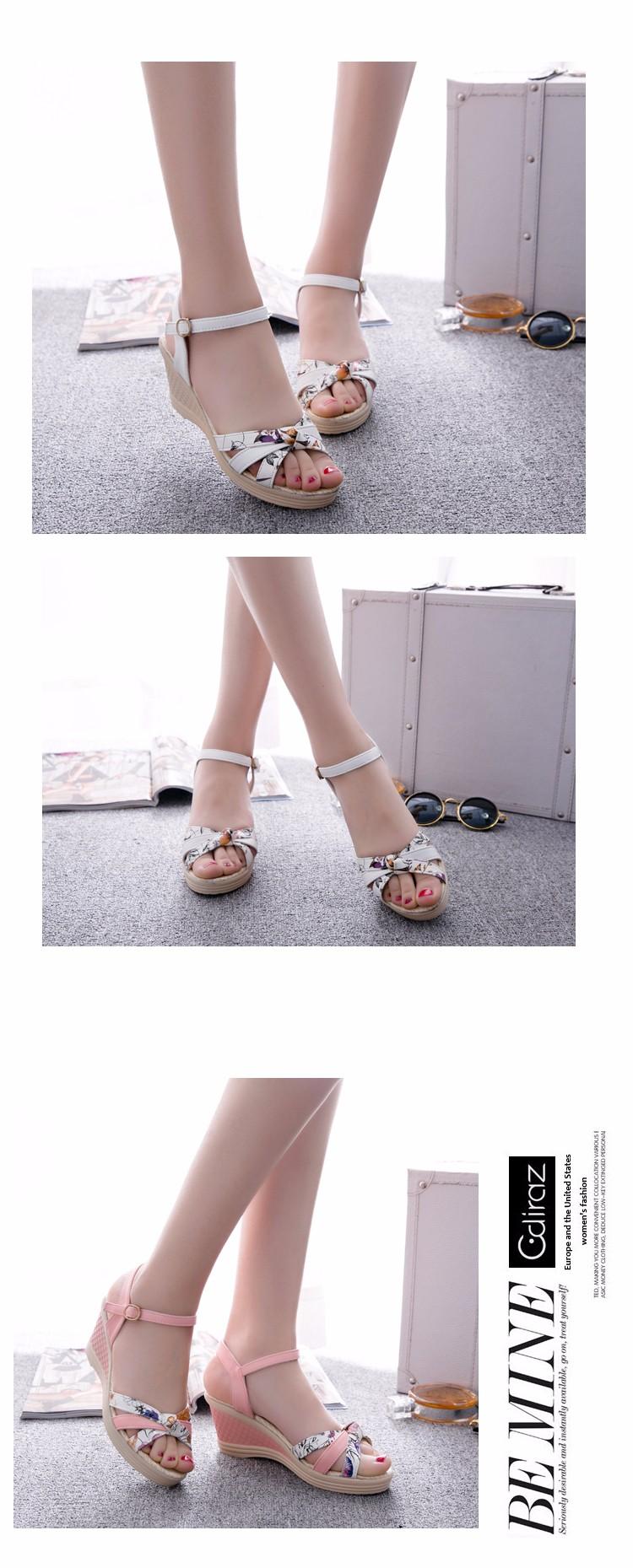 f47bc28ac8599 2016 Cute Women Sandals Newest Cork Appliques Women Flat Platform Sandals  Rome Buckle Fretwork Wedges Sandals G97 35
