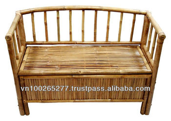 Bf 13022 Bamboo Storage Bench With Arms And Hinged Seat