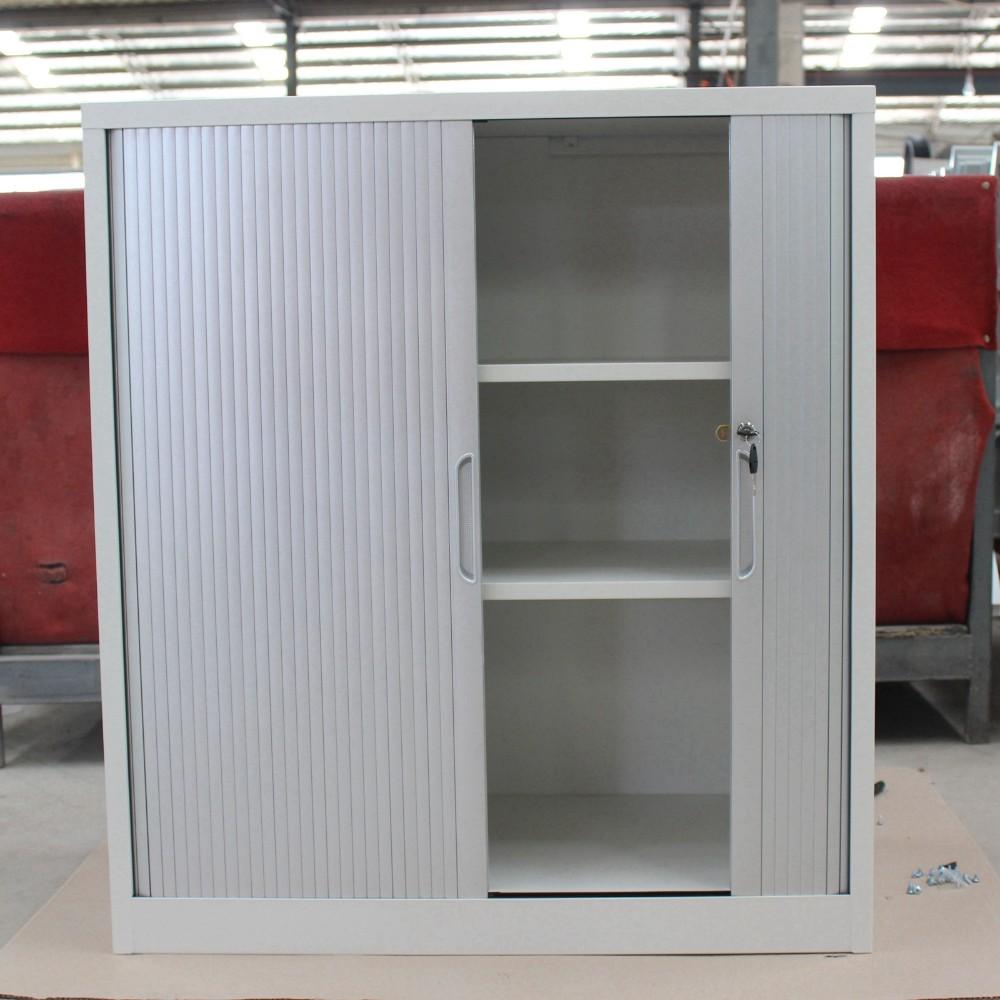 2 Roller Shutter Door Office Filing Cabinet Gray Tambour
