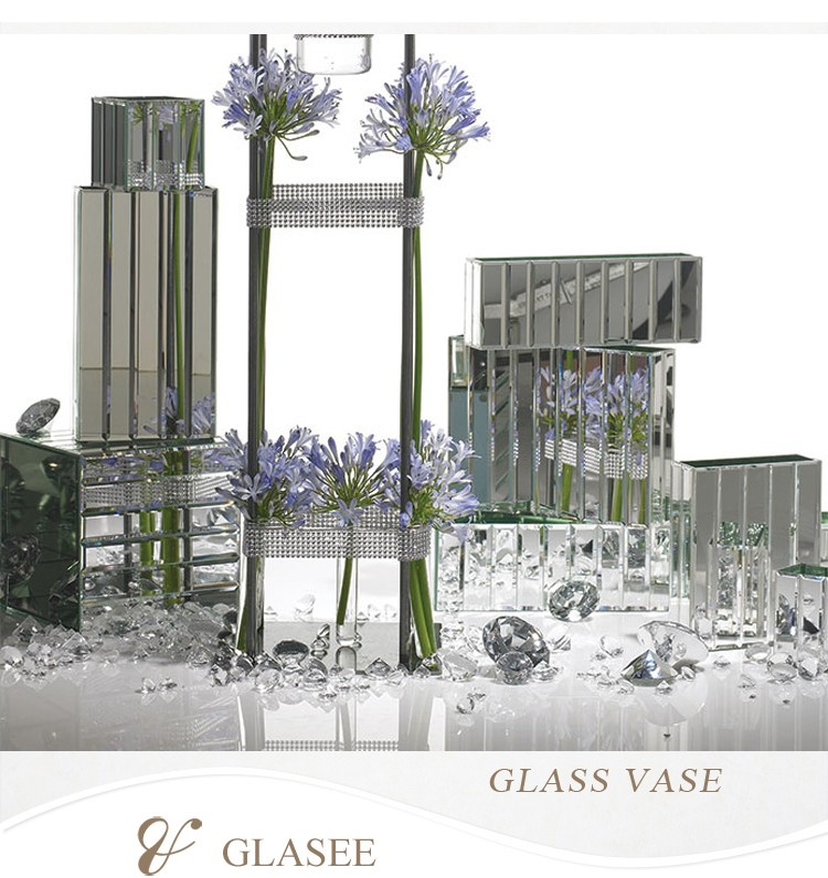 Popular Mirrored Square Glass Vase / different sizes for you choose/ can print your logo