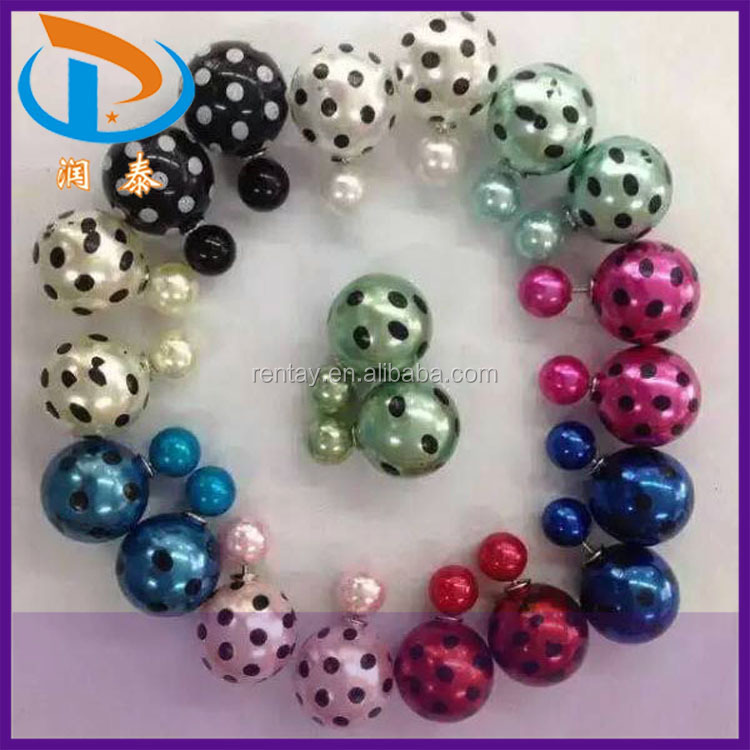 2015 New Design Colorful Printed Floral Double Ball Jewelry Pearl Earrings