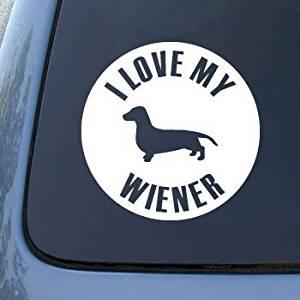 LOVE MY WIENER - Dog Dachshund - Vinyl Car Decal Sticker #1622 | Vinyl Color: White