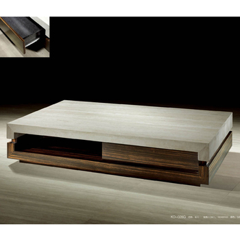 Alibaba Modern Italian Living Room Home Goods Wooden Base Travertine Marble Top Coffee Table