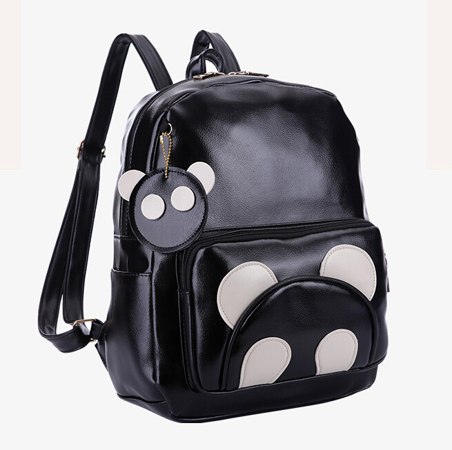 46e22f51e78f Get Quotations · 2015 New Fashion travelling shoulder Bags Women PU leather  Cartoon panda backpack brand college student girl