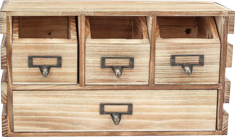 Rusoji Decorative Vintage Style Torched Wood Home Office Supply Desktop Storage Cabinet Organizer with 4 Label Drawer Handles, Brown