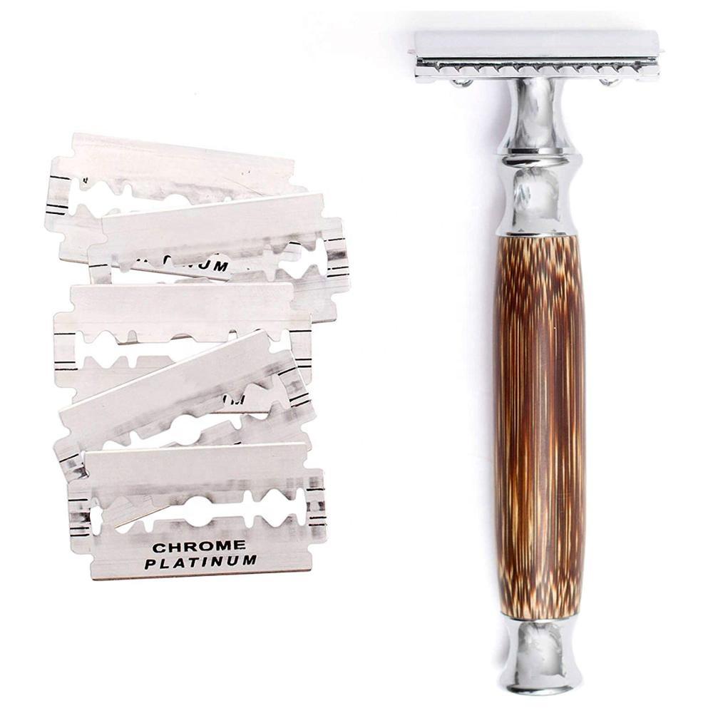 Maquinilla de afeitar de doble filo con mango largo de bambú Natural de alta calidad