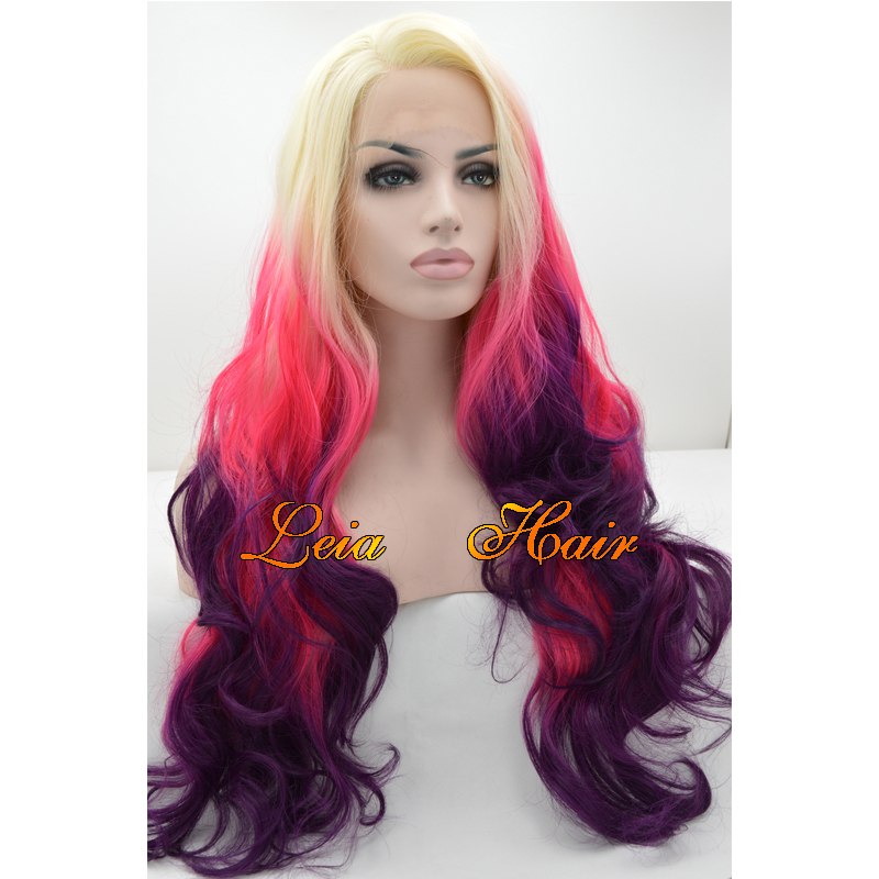 Long Wig Blonde Wavy Synthetic Lace Front Wig Heat Resistant Blonde/Pink/Purple Kanekalon Hair Glueless Cheap Ombre Wig For Sale