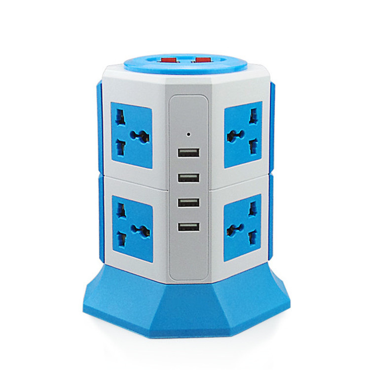 Universal Power Strip With Surge Protector, Vertical Tower Power Outlet With Flexible Multi Socket[8 Outlet Plugs][4 USB Slot]