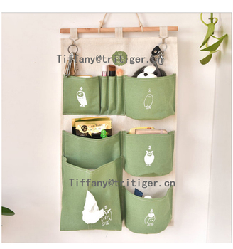 Genial Linen Cotton Fabric Wall Hanging Storage Organizer With 6 Pockets