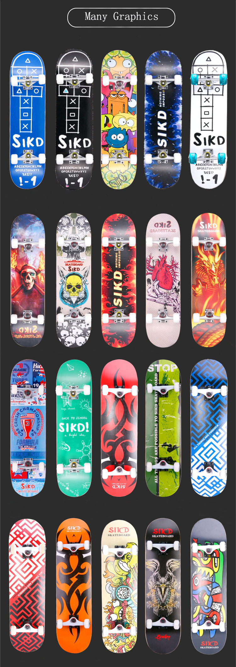 SIKD brand maple skateboard manufacturer wood skateboard wholesale