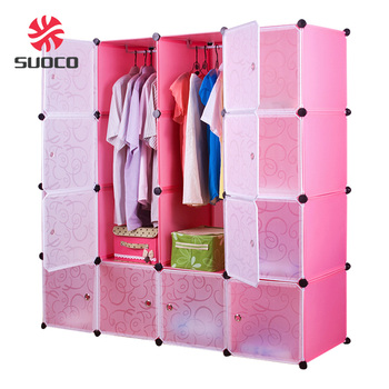 Exceptionnel Wardrobe Hanging Clothes Closet With 16 Doors Pink Design