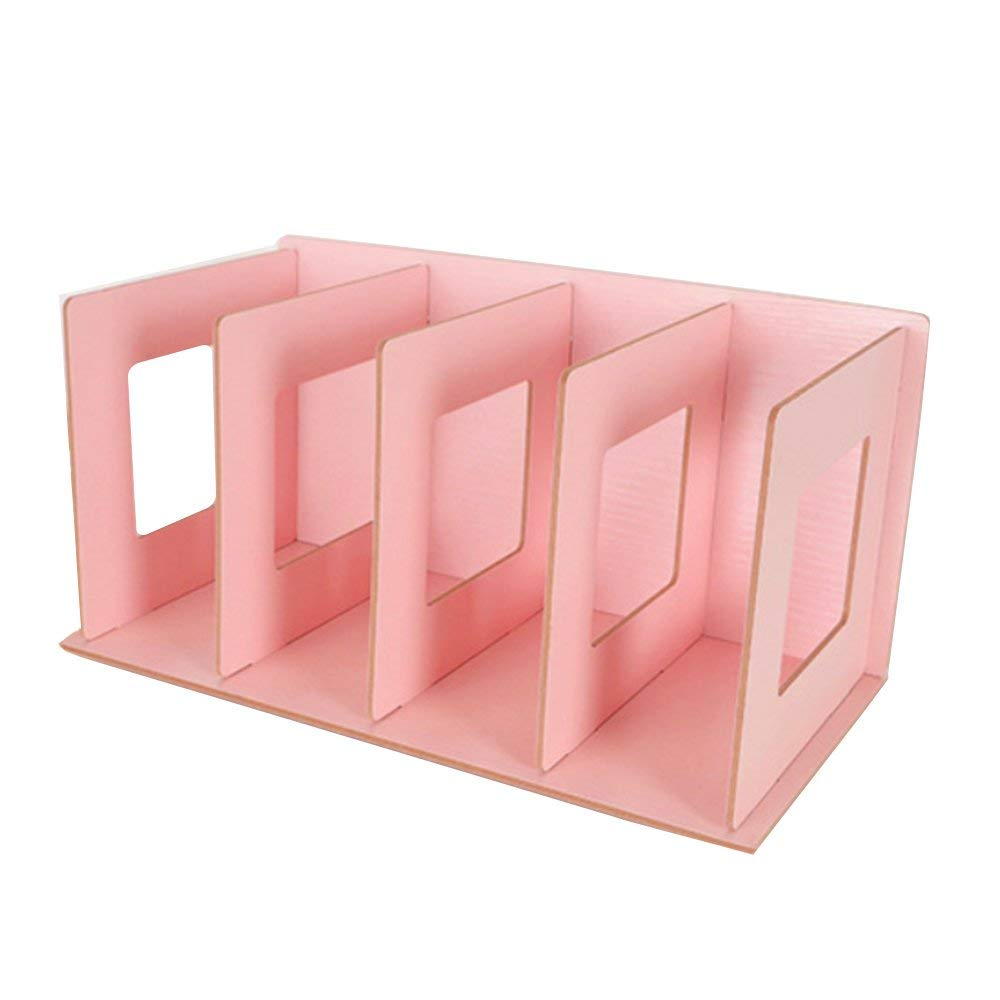 DIY Desktop Organizer, VIYOUNG Book Shelf CD Organizer Office Multifunctional Storage Rack Wood Shelf for Book, Compact Disc, Cosmetics, Accessories and Office Supplies (Pink)