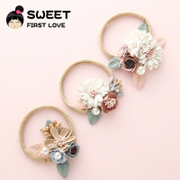 Top Sale Cloth Art Artificial Flowers Baby Headband For Girls