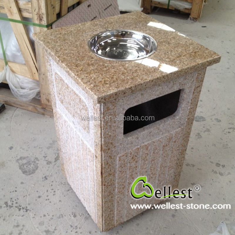 Factory Natural Yellow Cheap Granite Stone Trash Can for Garden